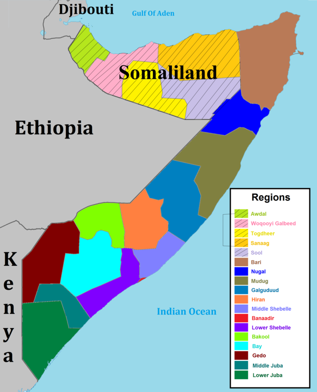 A map of Somalia's regions. A map of Somalia regions.png