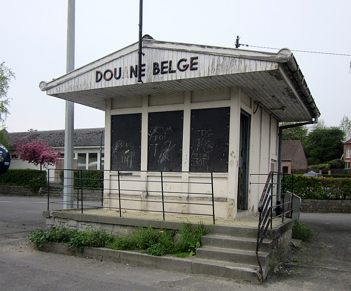 Abandoned border post near Belgian-French border crossing of the Schelde river. Bléharies quay, Belgium