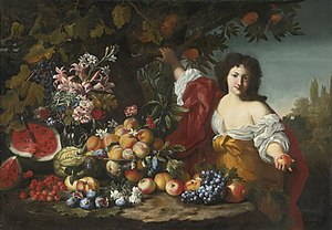 Guillaume Courtois - Still life of fruits and flowers with a figure