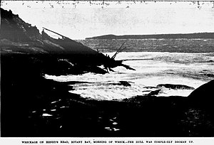 Advance (1874) - The main wreckage of the schooner Advance (1874) ashore in Botany Bay