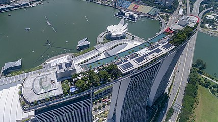 Aerial Of The Roof Top Pool Marina Bay Sands