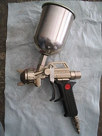 airbrush gun with a tank top and double adjustable