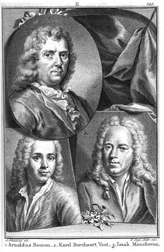 """Arnold Boonen - Portrait of Arnoldus Boonen (upper left) in Jan van Gool's """"Nieuw Schouburg"""", 1750"""
