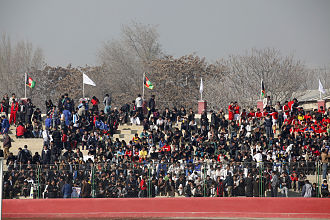Demographics of Afghanistan - Image: Afghans at Ghazi Stadium in 2011