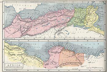 Nelle due mappe sono indicate le province romane di Mauretania Tingitana, Mauretania Caesariensis, Numidia ed Africa (sopra), Tripolitania e Cerenaica (sotto).