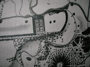 Eglinton Castle - John Ainslie's 1790 map showing formal pleasure or possibly kitchen gardens on the opposite side of the Lugton Water to the castle
