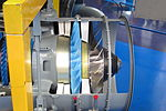 Air intake, fan and compressor of sectioned Rolls-Royce Turboméca Adour turbofan 01.jpg