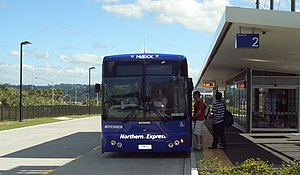 MAXX (brand) - Passengers board a MAXX-branded Northern Express operated by Ritchies Coachlines on the Northern Busway.