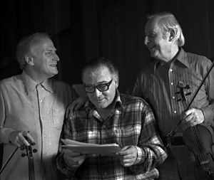 Alan Clare - Image: Alan Clare with Stephane Grappelli & Yehudi Menuhin Allan Warren