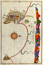 Подробный чертеж карты отчетливого полуострова с стеной городом, и изогнутый залив под ним.  Горы включены справа, как компас роза на левой стороне.