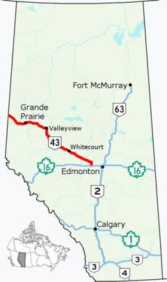 High River Alberta Canada Map.Alberta Highway 43 Wikipedia