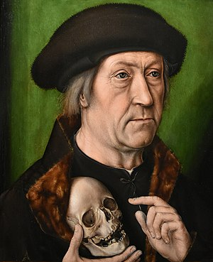 "Aelbrecht Bouts - ""Selfportrait with skull"" by Bouts, Noordbrabants Museum"