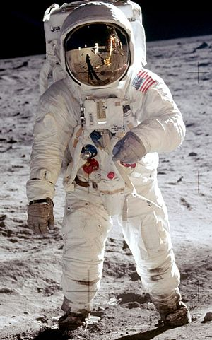 The Impossible Astronaut - Buzz Aldrin during the 1969 Apollo 11 mission.  A replica of this suit was created for the episode.
