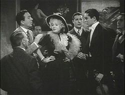 Jack Haley, Alice Faye, Don Ameche ja Tyrone Power elokuvan trailerissa.