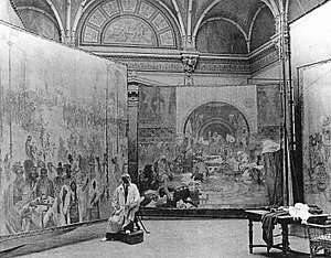 The Slav Epic - Alfons Mucha working on the cycle in 1920.