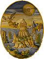 Alfonso Patanazzi - Plat ovale à ombilic - La chute d'Icare (Urbino, Majolique, 1616) - détouré.jpg