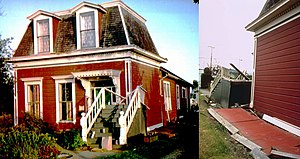 1992 Cape Mendocino earthquakes - The Alford-Nielson House fell off its foundation in the quake (O'Brien 1993, p. 81)