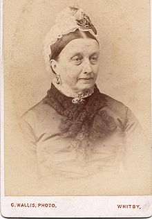 Photograph of Alice Smith (born c. 1817 Whitby, North Riding of Yorkshire died 1893). Mother of Rev Thomas Thistle (1853 -1936) and Hannah Elizabeth Vowles nee Thistle (1842-1903) AliceThistle(neeSmith)motherofHannahElizabethVowles(neeThistle).jpg