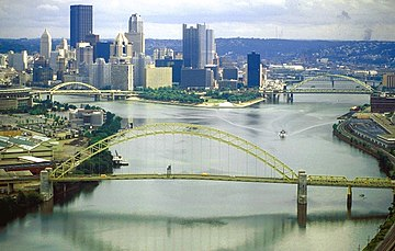 The Allegheny (left) and Monongahela (right) join to form the Ohio River at Pittsburgh, Pennsylvania. Allegheny Monongahela Ohio.jpg