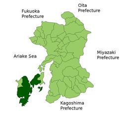Ang mapa ng Amakusa.