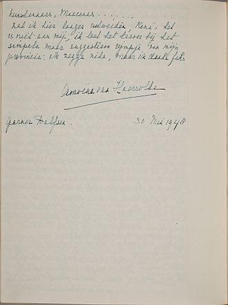 Amoene van Haersolte - Handwriting and signature of Amoëne van Haersolte, May 30, 1948