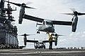 An MV-22B Osprey takes off from the flight deck of the amphibious assault ship USS Makin Island (LHD 8). (33202019523).jpg