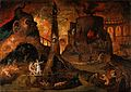 An angel leading a soul into hell. Oil painting by a followe Wellcome V0017388.jpg