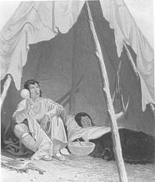 1857 engraving of a sick Native American being cared for by an indigenous healer