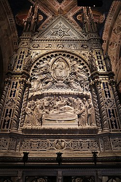 Andrea orcagna, tabernacolo di orsanmichele, 1359, dormitio e assunta 02.jpg