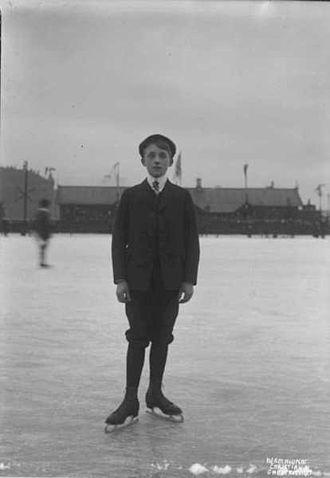 Andreas Krogh - Andreas Krogh at Bislett Stadion, Kristiania (later Oslo) 24. January 1909.
