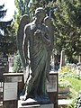 Angel with trumpet by Szilárd Sződy (1932) in Hatvani Cemetery, Eger, 2016 Hungary.jpg