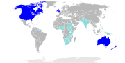 Countries where English has de facto or de jure official language status.