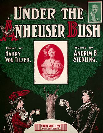 Under the Anheuser Bush - Sheet music cover stylized with Anheuser-Busch logo (1903)