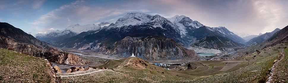 View of Annapurna massif near Manang, Nepal.