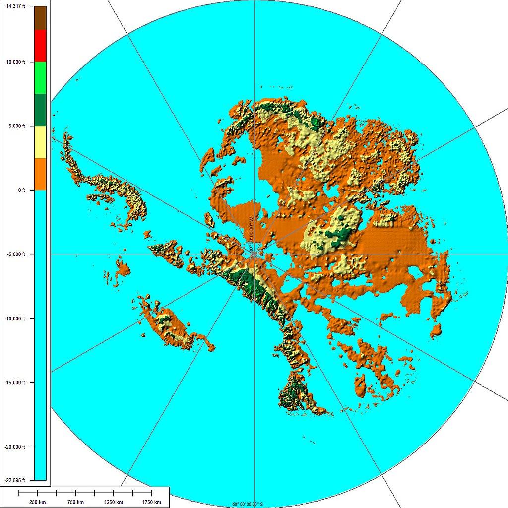 Mappa dell'Antartide senza ghiacci