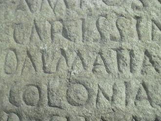 History of Dalmatia - Name Dalmatia on ancient panel