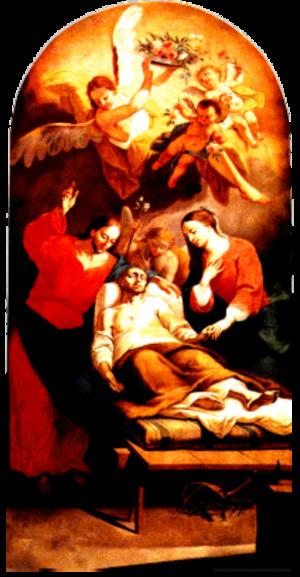 Anton Cebej - Death of St. Joseph, oil on canvas, 198 × 111 cm, painted 1774