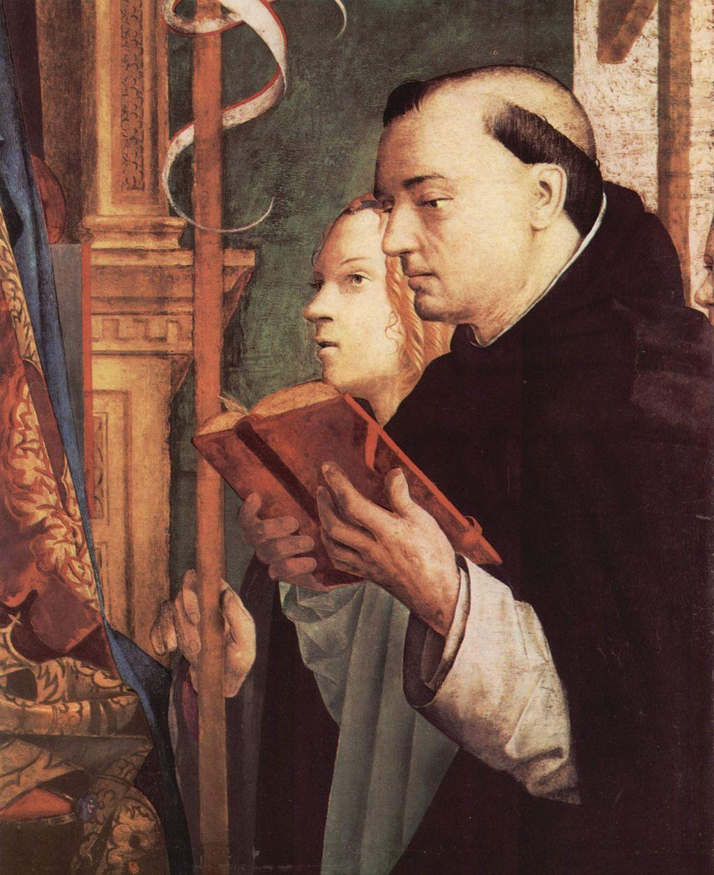 Antonello da Messina (1430–1479), Pala di San Cassiano (particolare, Orsola e Domenico)), 1475-1476 circa, olio su tavola, 115×135,6 cm, Vienna, Kunsthistorisches Museum