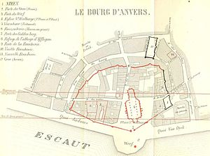 Antwerp 1st fortification with overlay of 19th century Construction of Scheldt quais.jpg