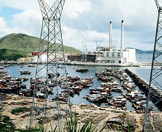 South Horizons - The former Ap Lei Chau Power Station in 1971, viewed from the north, across Aberdeen West Typhoon Shelter.