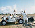 Apollo 16 crew with LRV trainer (KSC-72PC-133).jpg