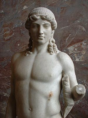 "Polykleitos - Apollo of the ""Mantua type"", marble Roman copy after a 5th-century-BC Greek original attributed to Polykleitos, Musée du Louvre"