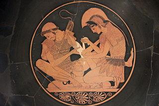 Achilles binding Patroclus wounds Kylix