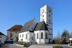 Distinctive landmark church tower Arbing