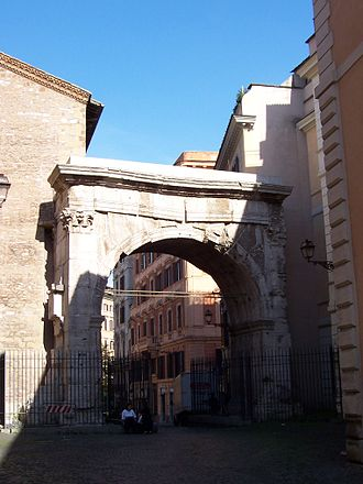 Servian Wall - The Porta Esquilina was originally a gateway in the Servian Wall. In the later Roman Empire, it became known as the arch of Gallienus and was the starting point of the via Labicana and via Tiburtina.