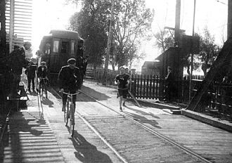Jimmy Duffy - Duffy on the bridge over Burlington Canal during the 1912 Around the Bay Road Race in Hamilton, Ontario.