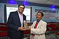 Arya Roy Receiving Memento from Dileep Basumazumder after Delivering Lecture - Hand and Wrist Injury in Sports - SPORTSMEDCON 2019 - SSKM Hospital - Kolkata 2019-03-17 3718.JPG