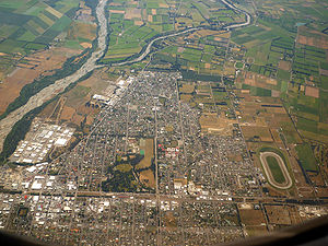 Ashburton, New Zealand - Aerial view of Ashburton, looking west. The Ashburton River or Hakatere is visible at left.
