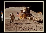 Astronaut James Irwin gives salute beside U.S. flag during lunar surface extravehicular activity (EVA) (3747529970).jpg
