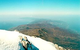 The peninsula as seen from the summit of Mount Athos ( 40°9′28″N, 24°19′36″E), looking north-west